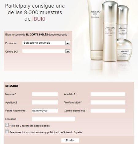 Muestras gratis Ibuki Shiseido