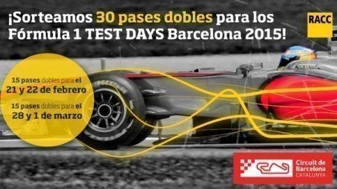 Quieres presenciar los test days de la f rmula 1 for Oficinas racc barcelona