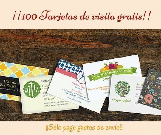 Consigue 100 Tarjetas De Visita Gratis Solo Pagas El Envio Regalos Y Muestras