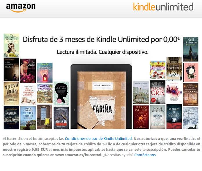 Obtén gratis Amazon Kindle Unlimited por tres meses (precio: €)