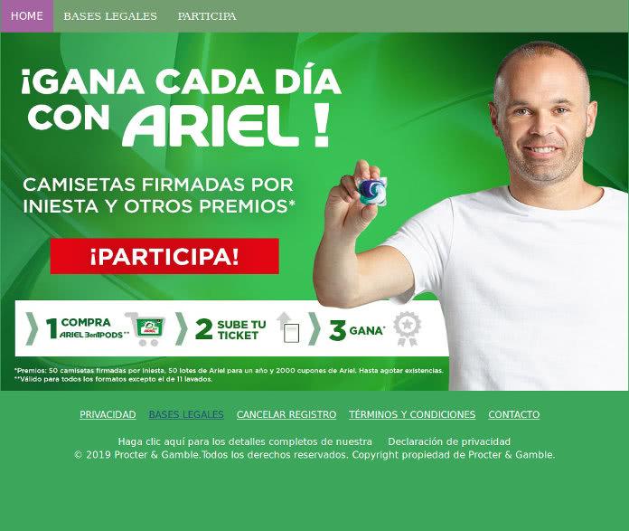 Ariel sortea 2.100 premios entre camisetas de Iniesta, cupones descuento de 5€ y packs Ariel