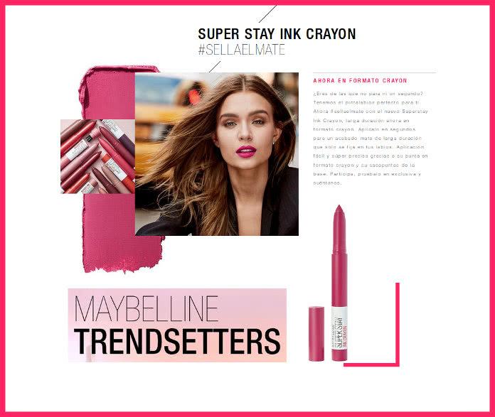 MAYBELLINE  TRENDSETTER repartirá 50 Super Stay Ink Crayon