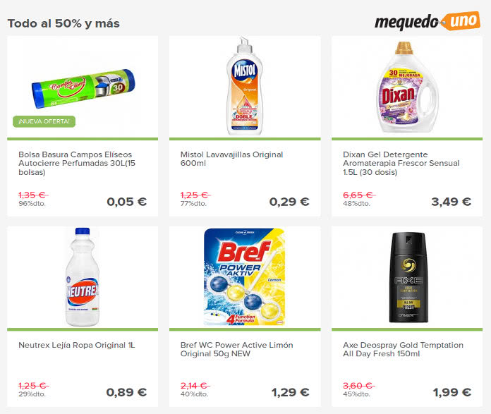 Super ofertas en Mequedouno para el hogar con descuentos del 50% y más