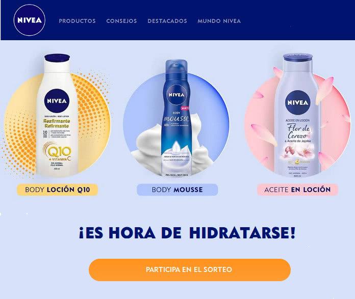 Nivea sortea 180 productos de cuidado corporal