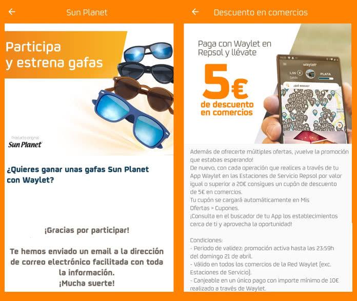5€ de regalos en la app WAYLET y sorteo de 500 gafas de sol SUN PLANET