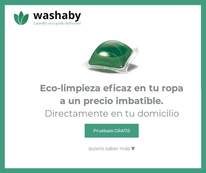 Muestras gratis de cápsulas de detergente ecológico WASHABY