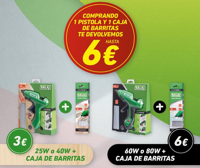 Reembolso de 6€ para la Pistola y barras de silicona Salki