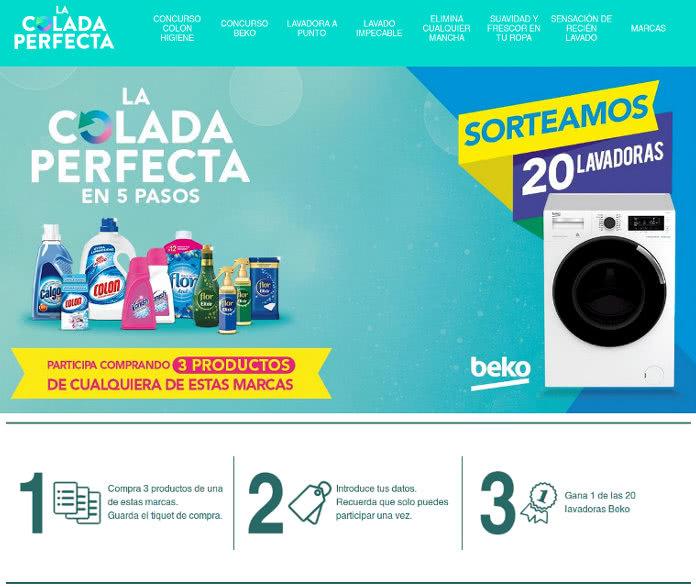 Sorteo de 20 lavadoras Beko por la compra de 3 productos