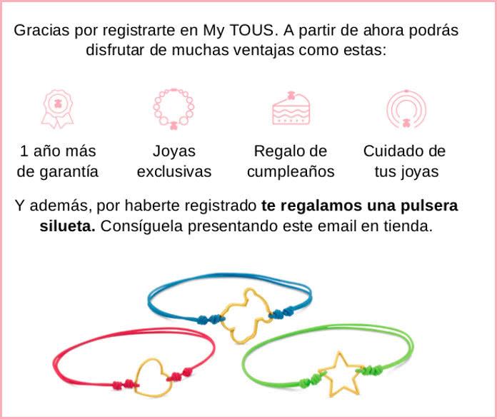 Pulsera Tous de regalo por registrarte en el club MyTous