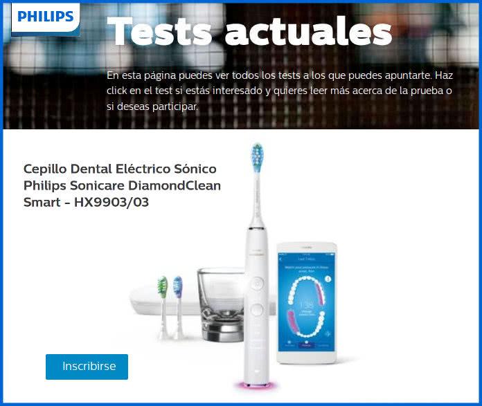 Nuevo test en Philips para probar gratis un Cepillo Dental Eléctrico Sónico