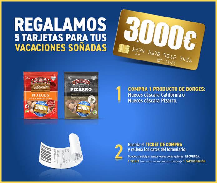 Borges Sortea 5 tarjetas de 3.000€ para viajar