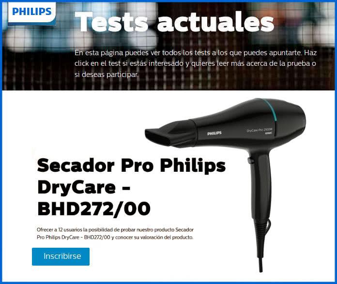 Philips busca 12 probadores de su secador DryCare