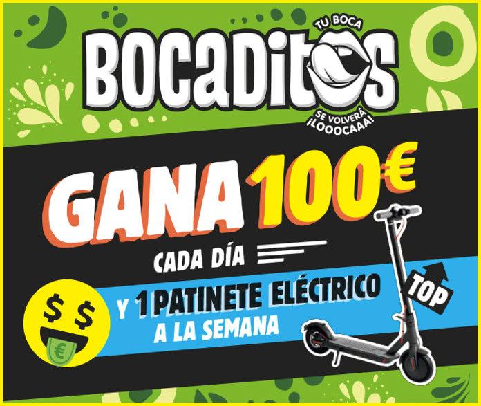 Bocaditos sortea 100€ diarios y 1 patinete eléctrico por semana