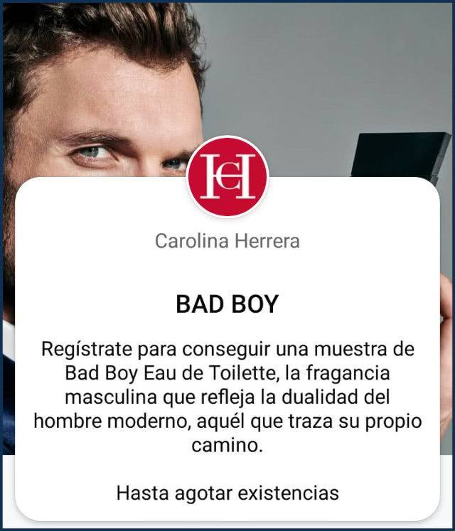 Muestras Gratis Bad Boy Carolina Herrera